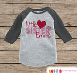 Little Sister Valentine's Outfit - Kids Happy Valentine's Day Onepiece or Shirt - Girls Shirt - Big Sister Little Sister Outfits - Grey