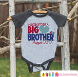 Big Brother Valentine's Outfit - Boys Pregnancy Announcement Onepiece or Shirt - Big Brother Little Brother Outfits Grey - Valentines Reveal