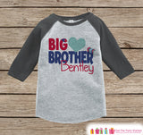 Big Brother Valentine's Outfit - Kids Happy Valentine's Day Onepiece or Shirt - Boys Heart Shirt - Big Brother Little Brother Outfits - Grey