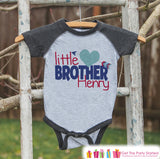 Little Brother Valentine's Outfit - Kids Valentine's Day Onepiece or Shirt - Boys Heart Shirt - Big Brother Little Brother Outfits - Grey