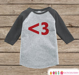 Kids Valentines Outfit - Red Heart Valentine's Day Shirt or Onepiece - Boy or Girl Valentine Shirt - Kids, Baby, Toddler, Youth - <3 - Grey - Get The Party Started