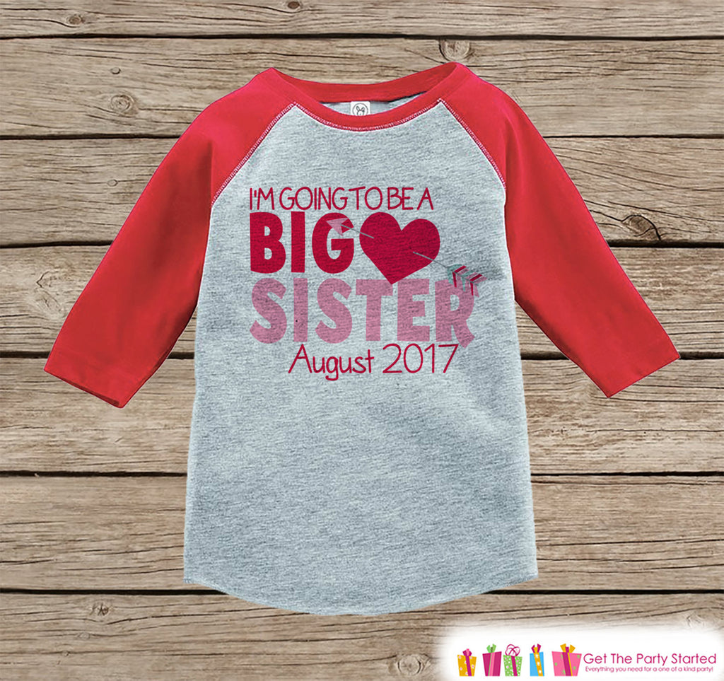 Big Sister Valentine's Outfit - Pregnancy Announcement Onepiece or Shirt - Red Heart Shirt for Girls - Big Sister Little Sister Outfits Red