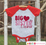 Big Sister Valentine's Outfit - Kids Happy Valentine's Day Onepiece or Shirt - Girls Heart Shirt - Big Sister Little Sister Outfits - Red