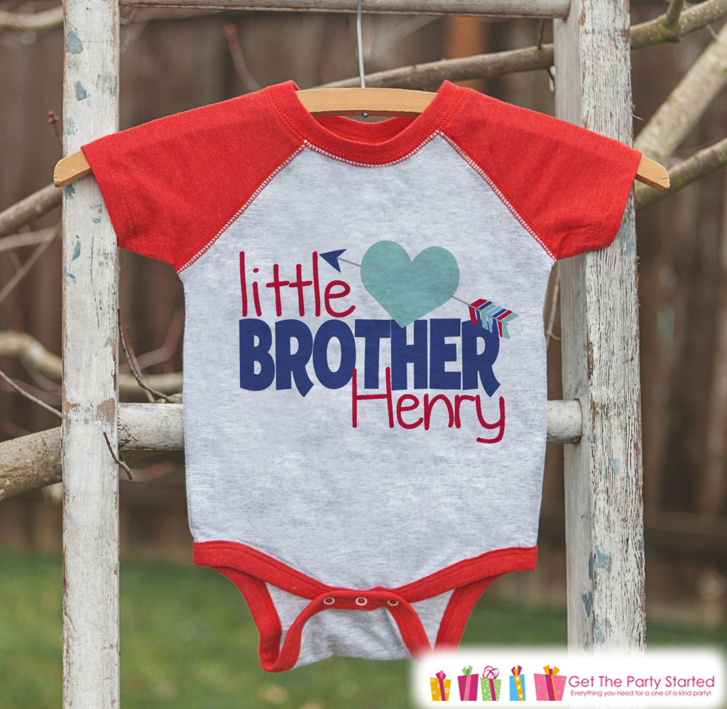 Little Brother Valentine's Outfit - Kids Valentine's Day Onepiece or Shirt - Boys Heart Shirt - Big Brother Little Brother Outfits - Red