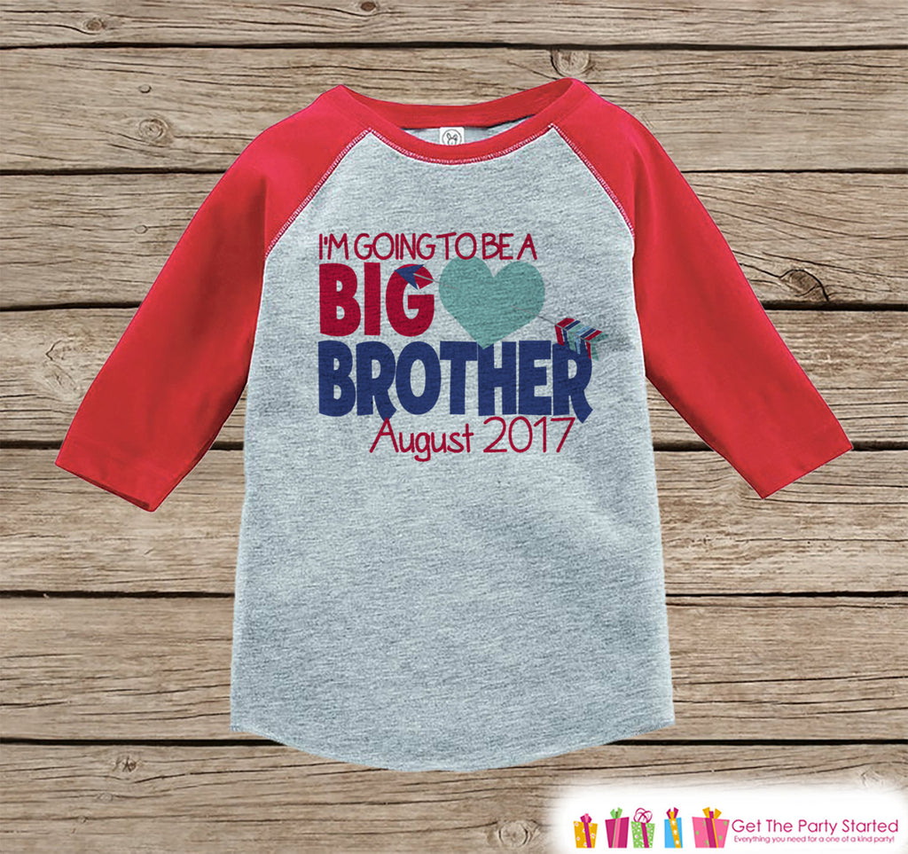 Big Brother Valentine's Outfit - Boys Pregnancy Announcement Onepiece or Shirt - Big Brother Little Brother Outfits Red - Valentines Reveal