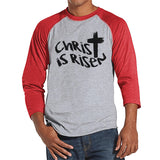 Men's Easter Shirt - Mens Christ is Risen Religious Easter Shirt - Happy Easter Tshirt - Christian Easter Shirt - Jesus Cross - Red Raglan - Get The Party Started