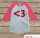 Kids Valentines Outfit - Red Heart Valentine's Day Shirt or Onepiece - Heart Girl's Valentine Shirt - Kids, Baby, Toddler, Youth - <3 - Pink - Get The Party Started