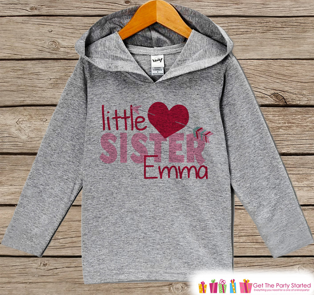Girls Valentines Day Outfit - Kids Hoodie - Little Sister Valentine Pullover - Girl Valentine's Outfit - Kids, Baby, Toddler, Sibling Hoodie - Get The Party Started