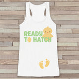 Easter Pregnancy Announcement Tank - Ready to Hatch Pregnancy Reveal - Spring Pregnancy Shirt - White Tank - Easter Pregnancy Announcement - Get The Party Started