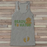 Easter Pregnancy Announcement Tank - Ready to Hatch Pregnancy Reveal - Spring Pregnancy Shirt - Grey Tank - Easter Pregnancy Announcement - Get The Party Started