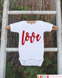 Kids Valentines Day Outfit - Valentine's Day Onepiece or T-shirt - Red Love Script Valentine Shirt for Baby Girls - Kids Valentine Shirt - Get The Party Started