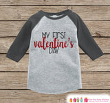 Baby Valentines Outfit - My First Valentine's Day Shirt or Onepiece - Boy or Girl Valentine Shirt - Kids, Baby, Toddler, Youth - Grey Raglan - Get The Party Started