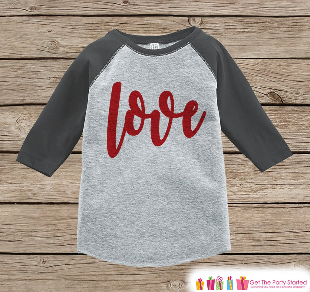 Kids Valentines Outfit - Red Love Script Valentines Day Shirt or Onepiece - Boy or Girl Valentine Shirt - Baby, Toddler, Youth - Grey Raglan - Get The Party Started