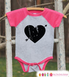 Girls Valentines Outfit - Black Heart Valentine's Day Shirt or Onepiece - Girls Valentine Shirt - Kids, Baby, Toddler, Youth - Pink Raglan - Get The Party Started