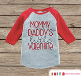 Kids Valentines Outfit - Mommy and Daddy's Little Valentine Shirt or Onepiece - Boy or Girl Valentines Day Shirt - Baby, Toddler Red Raglan