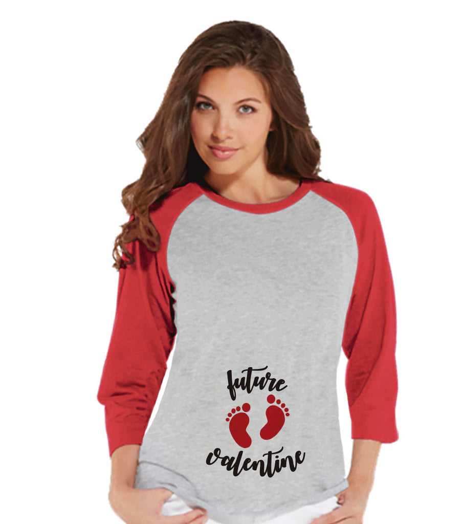 Valentine's Pregnancy Shirt - Future Valentine Shirt - Pregnancy Reveal - Pregnancy Announcement - Womens Baseball Tee - Red Raglan Shirt