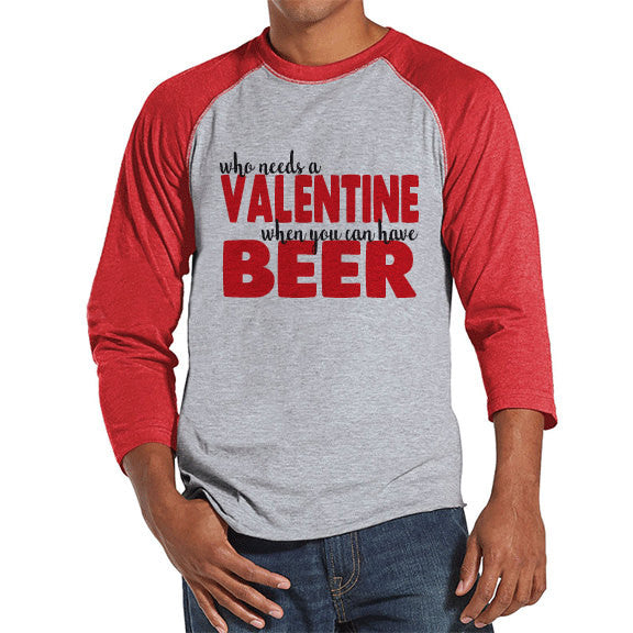 Men's Valentine Shirt - Funny Valentine Shirt - Drinking Valentines Day - Funny Anti Valentines Gift for Him - Beer Drinker - Red Raglan - Get The Party Started