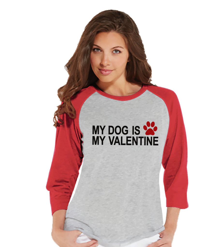 Ladies Valentine Shirt - Funny Dog Valentine Shirt - Womens Happy Valentines Day Shirt - Funny Anti Valentines Gift for Her - Red Raglan - Get The Party Started