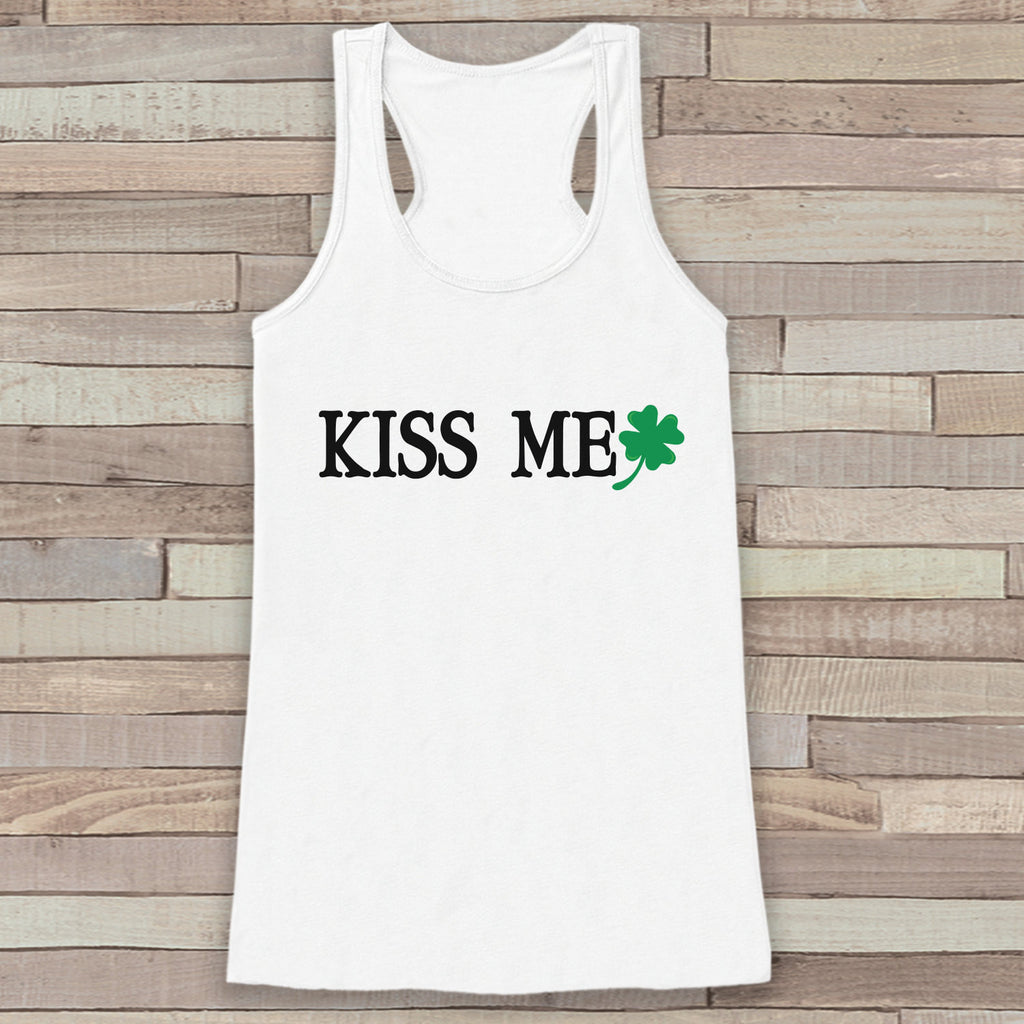 St. Patrick's Tank Top - Women's St. Patricks Day Tank - White Tank Top - Ladies Tank Top - Kiss Me Shirt - Party Shirt - St. Patty's Tank - Get The Party Started