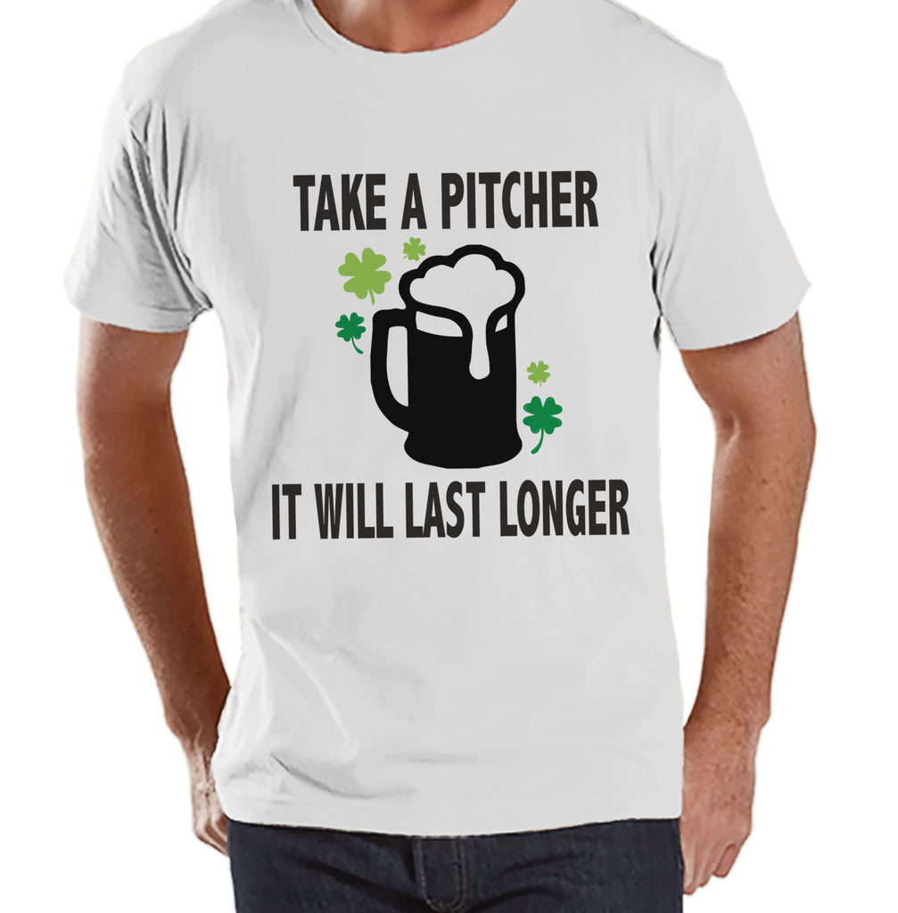 Men's St. Patrick's Day Shirt - Funny St. Patricks Shirt - Take A Pitcher - Beer Lover Gift Idea - Irish Drinking Shirt - Mens White T-Shirt - Get The Party Started