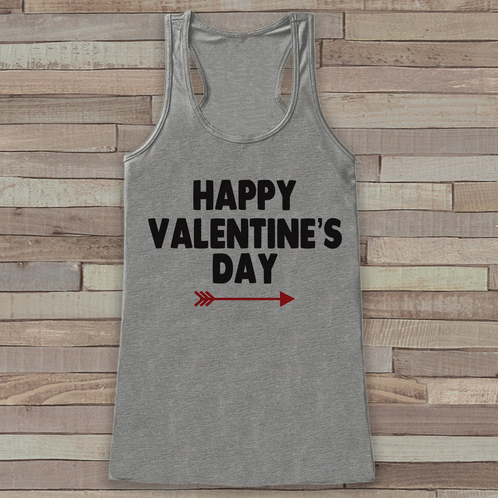 Womens Valentine Shirt - Cute Valentine's Day Tank Top - Women's Happy Valentine's Day Tank - Red Arrow Valentines Shirt - Grey Tank Top - Get The Party Started