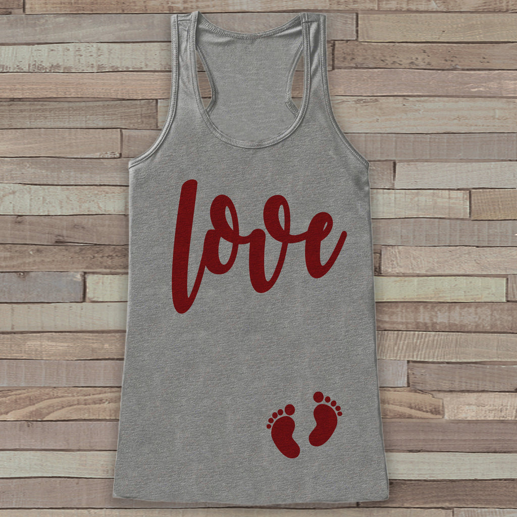 Valentine's Day Pregnancy Reveal Tank Top - Women's Pregnancy Announcement Shirt - Red Love Baby Feet Pregnancy Reveal Shirt - Grey Tank Top