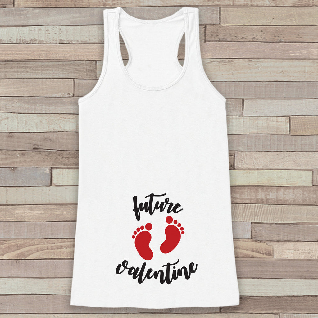 Valentine's Day Pregnancy Reveal Tank Top - Women's Pregnancy Announcement Shirt - Future Valentine Red Baby Feet - White Tank Top - Get The Party Started