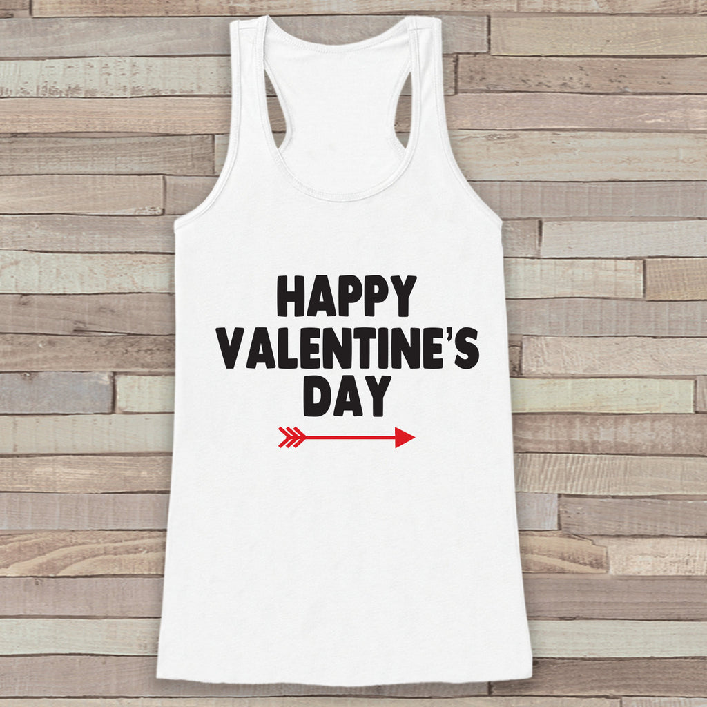 Womens Valentine Shirt - Cute Valentine's Day Tank Top - Women's Happy Valentine's Day Tank - Red Arrow Valentines Shirt - White Tank Top - Get The Party Started