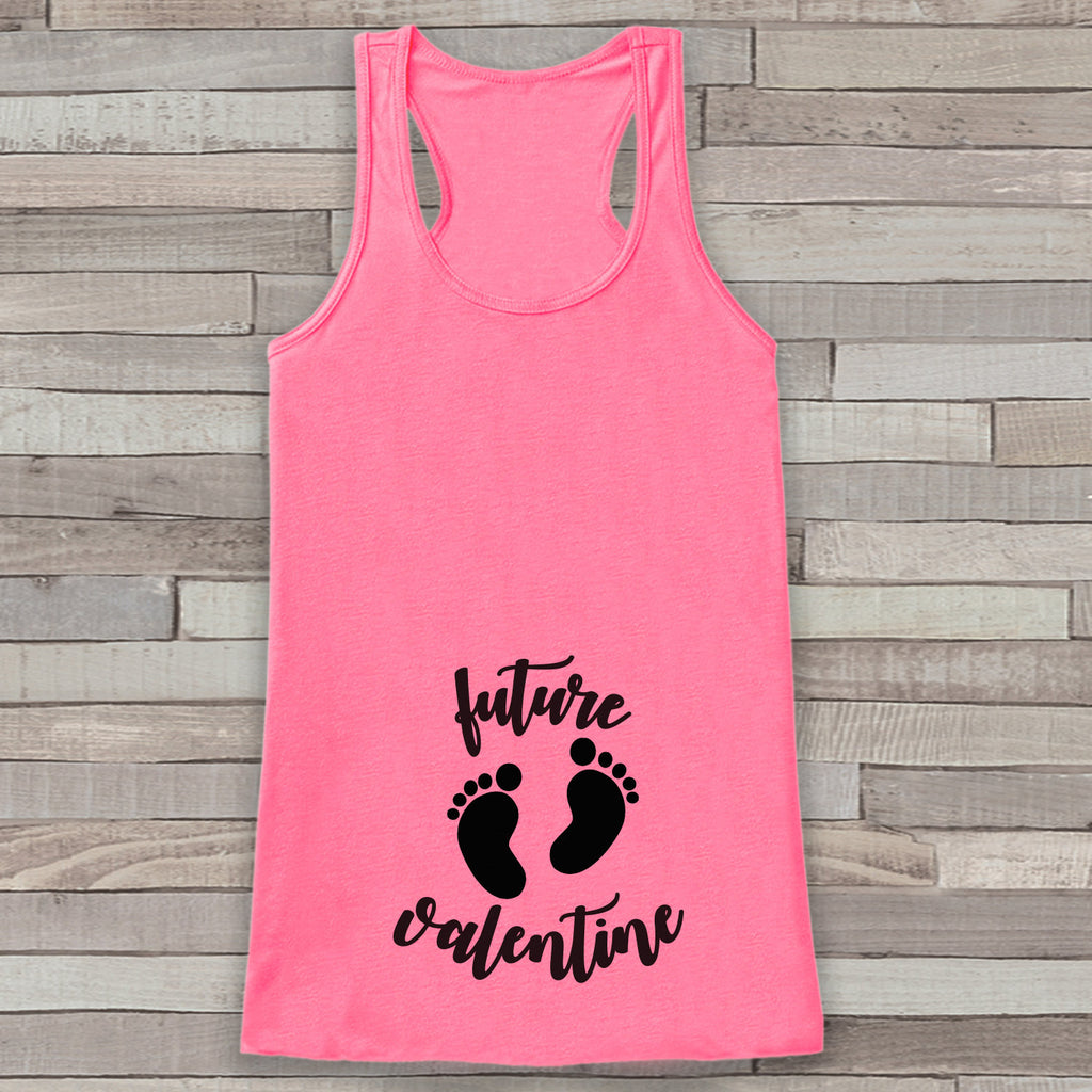 Valentine's Day Pregnancy Reveal Tank Top - Women's Pregnancy Announcement Shirt - Future Valentine Black Baby Feet - Pink Tank Top - Get The Party Started