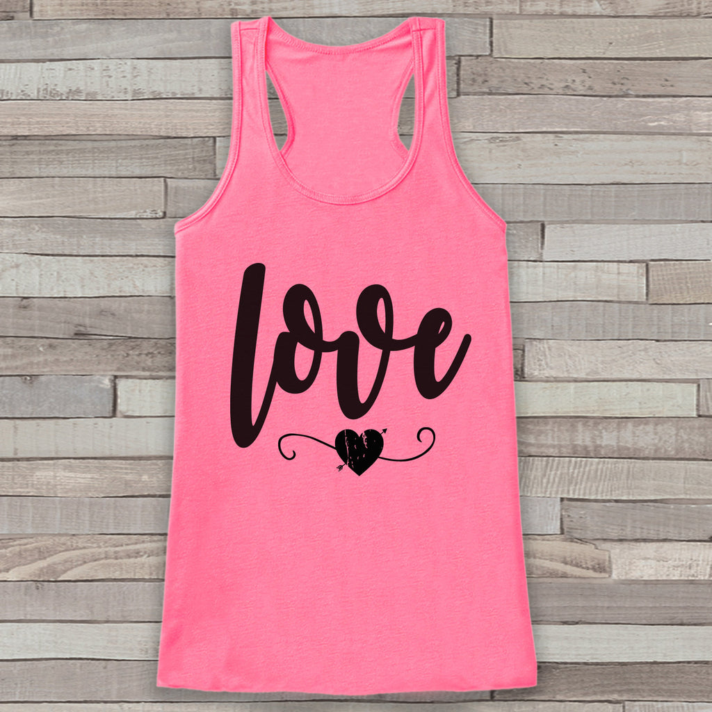 Womens Valentine Shirt - Cute Valentine's Day Tank Top - Women's Happy Valentine's Day Tank - Love Heart Valentines Shirt - Pink Tank Top - Get The Party Started