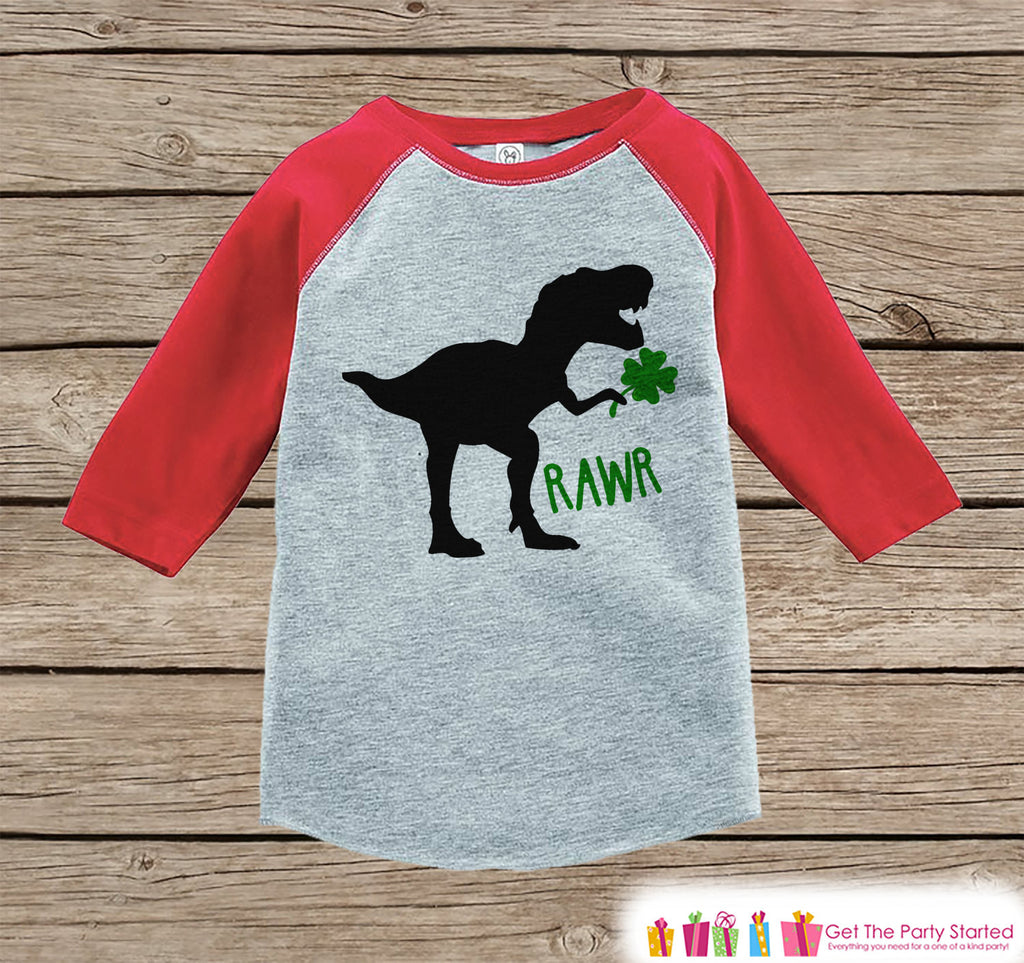 Kids St Patricks Day Outfit - Dinosaur St Paddy's Day Shirt or Onepiece - Boys Lucky Shirt - Baby, Toddler, Youth - Dino Clover Shirt - Get The Party Started