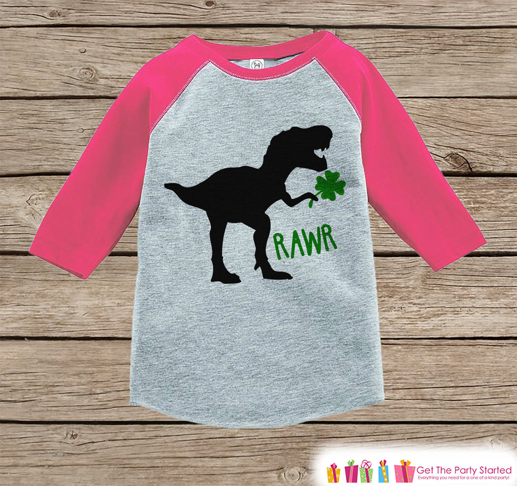 Girls St Patricks Day Outfit - Dinosaur St Paddy's Day Shirt or Onepiece - Girls Lucky Shirt - Baby, Toddler, Youth - Grey Dino Clover Shirt - Get The Party Started