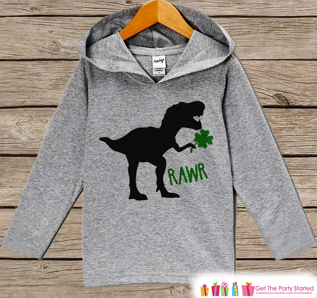 Boys St Patricks Day Outfit - Kids Dinosaur Clover Pullover - Funny Boys St Paddy's Day Outfit - Kids, Baby, Toddler Hoodie - Lucky Dino - Get The Party Started
