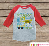 Last Day of Preschool Outfit - Boys Last Day or School Preschool Stats Shirt - Kids Red Raglan - Boys My Last Day of School Outfit