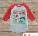 First Day of Kindergarten Shirt - Back To School Kindergarten Stats Shirt - Kids Stats Red Raglan - Boys My First Day of School Shirt