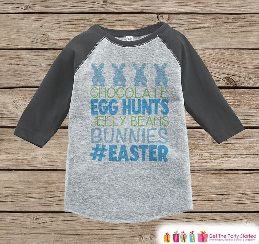 Boy's Easter Outfit - #Easter Grey Raglan Shirt or Onepiece - Easter Egg Hunt - Easter Bunny - Baby, Toddler, Kids, Youth Novelty Raglan Tee - Get The Party Started
