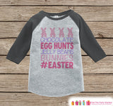 Girls Easter Outfit - #Easter Grey Raglan Shirt or Onepiece - Easter Egg Hunt - Easter Bunny - Baby, Toddler, Kids, Youth Novelty Raglan Tee - Get The Party Started