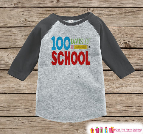100 Days of School Shirt - Boys 100 Days of School Shirt - Kids School Outfit Grey Raglan Tee - Boys 100th Day of School T-shirt