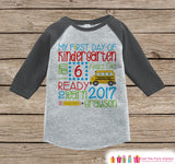 First Day of Kindergarten Shirt - Back To School Kindergarten Stats Shirt - Kids Stats Grey Raglan - Boys My First Day of School Shirt