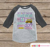 First Day of Kindergarten Shirt - Girls Back To School Kindergarten Stats Shirt - Kids Stats Grey Raglan - My First Day of School Shirt