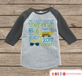 Last Day of Kindergarten Shirt - Boys Last Day of School Outfit - Kindergarten Stats Shirt - Kids Grey Raglan - Boys Kindergarten Graduate