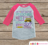Girls First Day of Preschool Shirt - Back To School Shirt - Preschool Stats Outfit - Kids Stats Pink Raglan - Girls My 1st Day of School