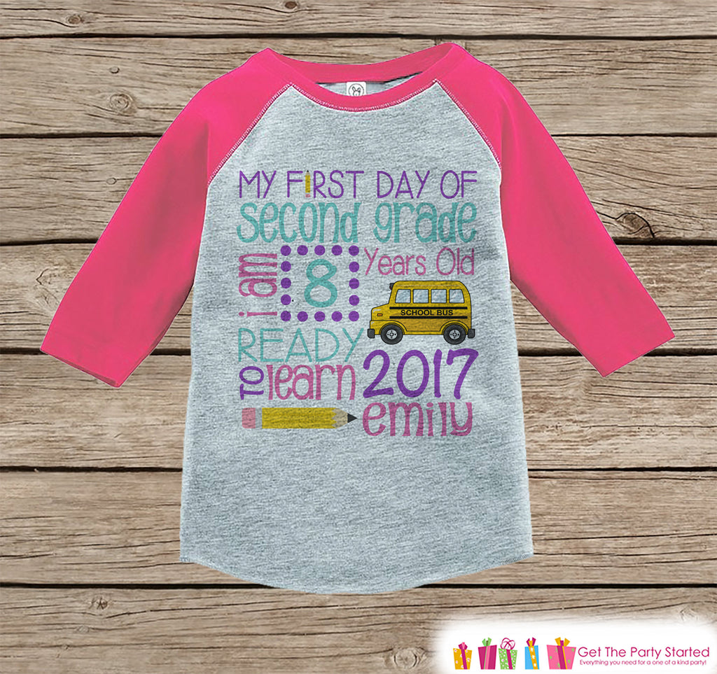 First Day of Second Grade Shirt - Girl Back To School Shirt - 2nd Grade Stats Shirt - Kids Stats Pink Raglan - My First Day of School Tshirt