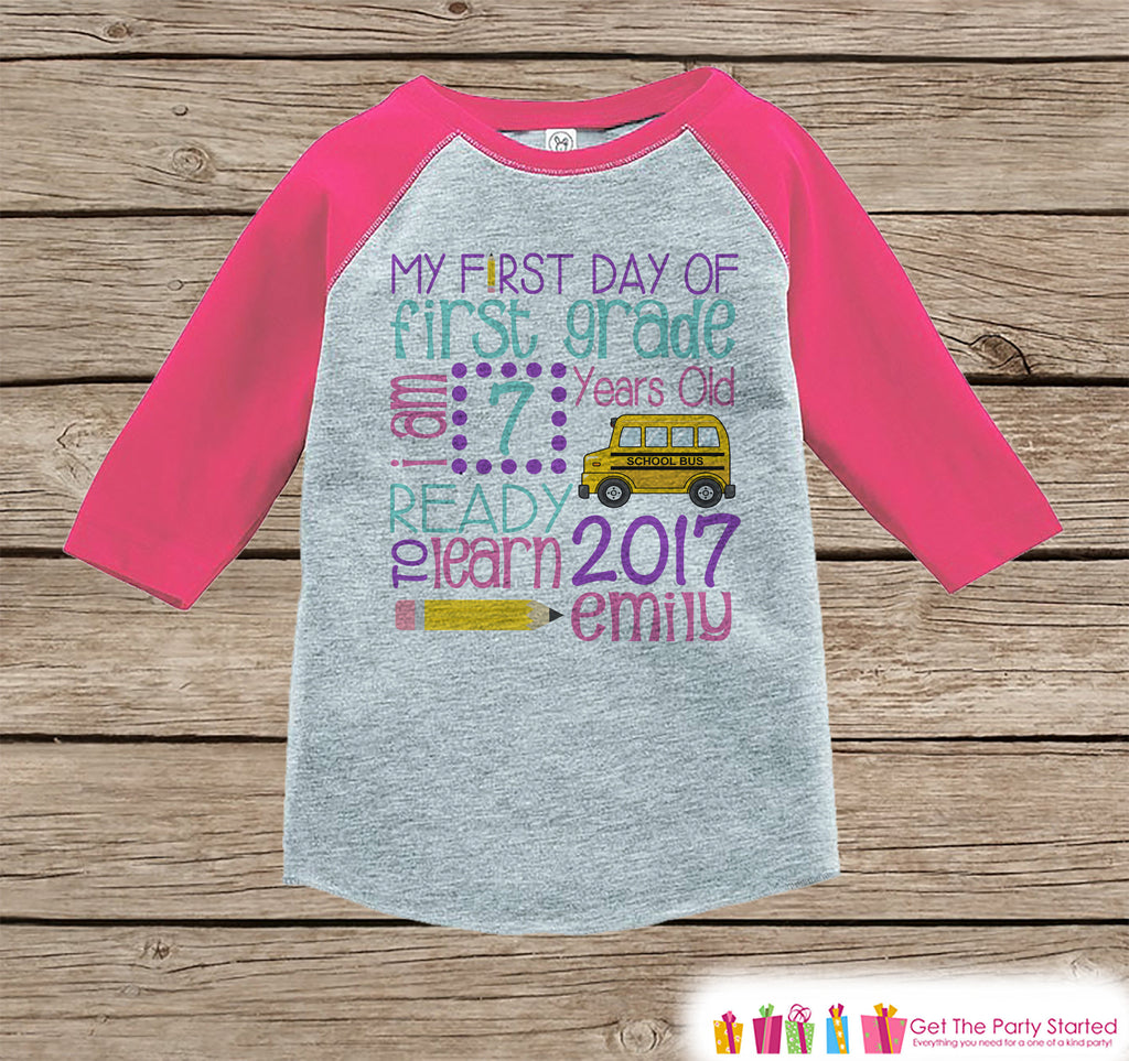First Day of First Grade Shirt - Girl Back To School Shirt - 1st Grade Stats Shirt - Kids Stats Pink Raglan - My First Day of School Tshirt