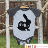 Kids Spring Outfit - Brother Bunny Shirt or Onepiece - Bunny Silhouette Family Shirts - Baby, Toddler - Boys Easter Sibling Shirts - Grey - Get The Party Started