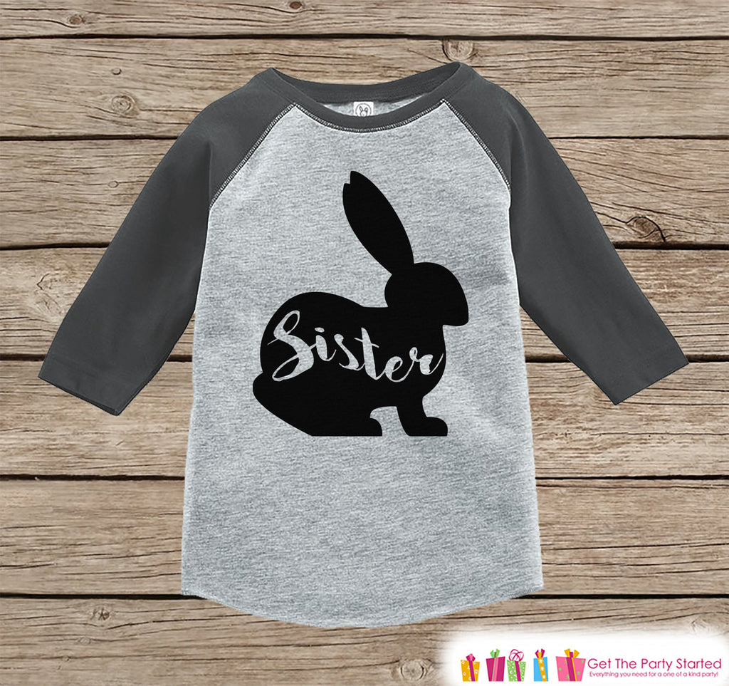Kids Spring Outfit - Sister Bunny Shirt or Onepiece - Bunny Silhouette Family Shirts - Baby, Toddler - Girls Easter Sibling Shirts - Grey - Get The Party Started