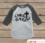 Kids Easter Outfit - Christ is Risen Shirt or Onepiece - Religious Easter Shirts - Baby, Toddler, Youth - Kids Cross Easter Shirt - Grey - Get The Party Started