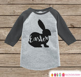 Kids Easter Outfit - Easter Bunny Shirt or Onepiece - Bunny Silhouette Easter Egg Hunt Shirt - Baby, Toddler, Youth - Happy Easter - Grey - Get The Party Started