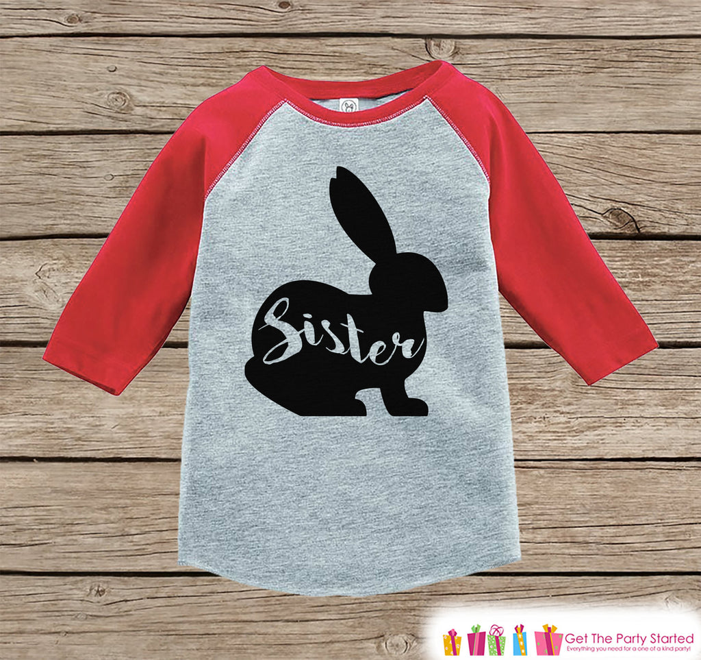 Girls Spring Outfit - Sister Bunny Shirt or Onepiece - Bunny Silhouette Family Shirts - Baby, Toddler - Girls Easter Sibling Shirts - Red - Get The Party Started