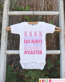 Kids Easter Outfit - Pink #Easter Onepiece or Tshirt - Girls Happy Easter Shirt - Baby Toddler Youth Easter Bunny Easter Egg Hunt Shirt - Get The Party Started